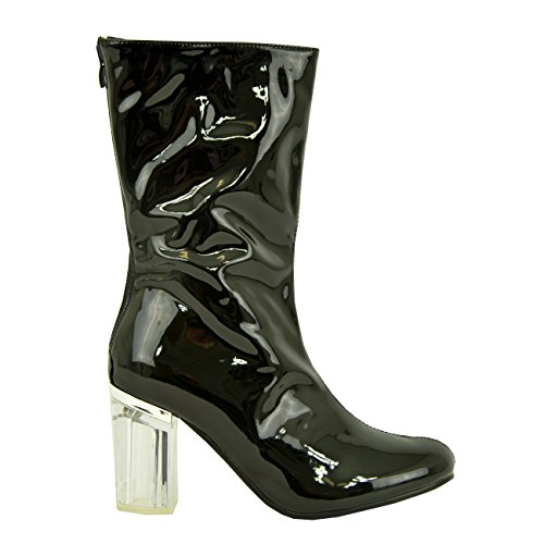 Cucu Fashion New Womens Ladies Clear Perspex Block Heel Calf Ankle Boots Zip Shoes Size UK (Clear Ankle Boots)