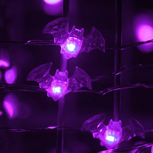 20 LED Purple Bat Lights Indoor/Outdoor Halloween Decoration (Set of 20 Lights — 7.1 Feet Long)