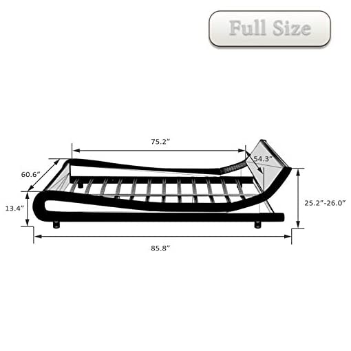 Bedroom Allewie Full Size Bed Frame with Curved Adjustable Headboard, Faux Leather Upholstered Platform Bed, Strong Wooden Slats… modern beds and bed frames