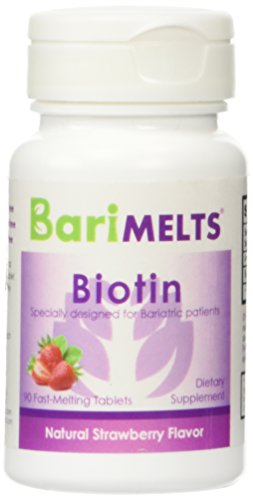 BariMelts Biotin, Dissolvable Bariatric Vitamins, Natural Strawberry Flavor, 90 Fast Melting Tablets