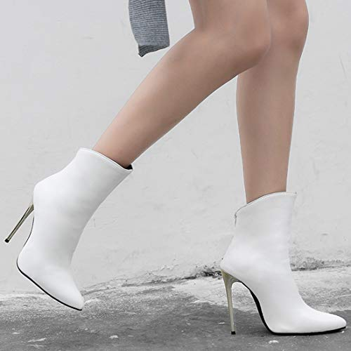 Booties High Ankle Womens Boots Pointed Prom Party White Zip Stiletto Vitalo Heel Toe pHZn4B