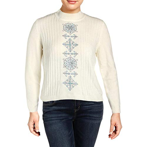 Alfred Dunner Womens Petites Northern Lights Pullover Sweater Ivory PXL ()