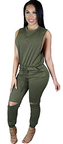 Kearia Women Casual Sleeveless Drawstring Knee Hole Long Pants Jumpsuits Rompers Green XXLarge