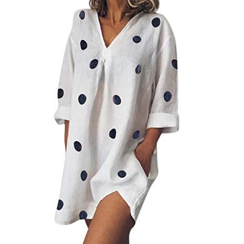 BIBICAT Womens Natural Classic Holiday Boho Dot Print Ladies Summer Pomisi Loose Beach Party Dress White ()