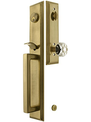 Melrose Style Tubular Handleset in Antique Brass with Diamond Knob and 2 3/4