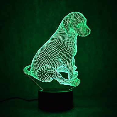 Delightful 3D Dog Night Light USB Touch Switch Decor Table Desk Optical Illusion Lamps  7 Color Changing