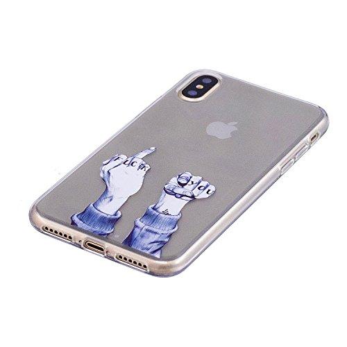 iphone 8 Custodia , Leiai Moda Dito Trasparente Silicone Morbido TPU Cover Case Custodia per Apple iphone 8