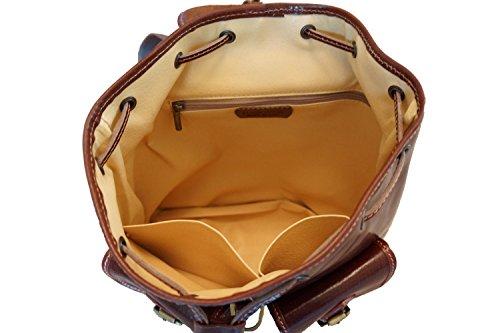 Florence 6554 Market Leather Poches À Avec Sac Marron Amples Dos Deux Externes qAafqBw