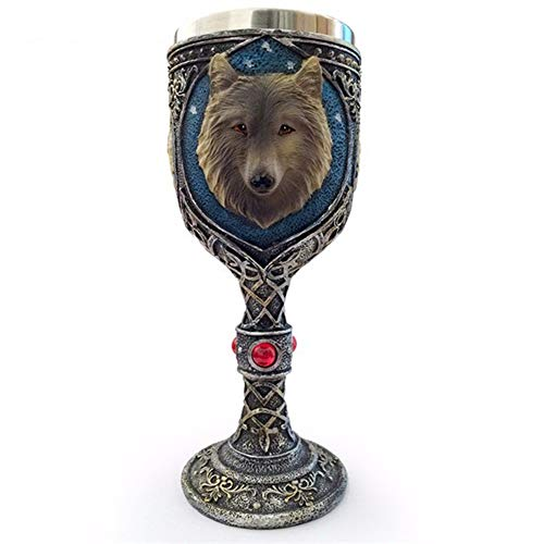 - Tvoip Horrible Resin Stainless Steel Skull Goblet Retro Claw Wine Glass Gothic Cocktail Glasses Wolf Whiskey Cup Party Bar Drinkware (Wolf Head)