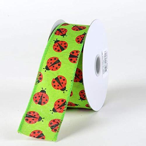 Fuzzy Fabric Green Linen Ladybugs Ribbon (W: 1-1/2 Inch   L: 10 Yards)