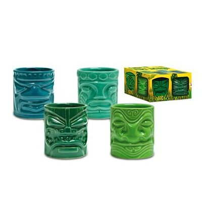 Hawaiian Tiki Shot Glass - Mini Ceramic Shot Glasses - Tiki Mug 4 Pack