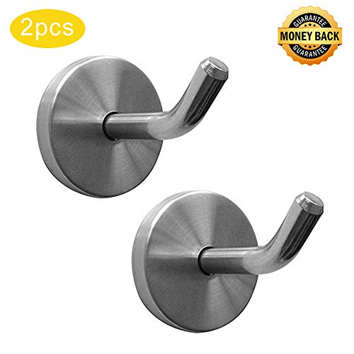 Shineme 2 Pack Stainless Steel Elephant Nose Hook Single Hanger Living Room Bathroom Towel Kitchen Wall Hook Strong Heavy Duty Garage Storage Organizer Hook -2Size (small-2pcs)