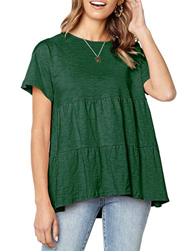 (Women's Summer Loose Ruffle Hem Short Sleeve T Shirt High Low Peplum Blouse Tee(X-Large, Dark Green))