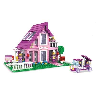 2 Item Bundle BRICTEK Fairyland Suburban House 576 Pcs Building Blocks Compatible With Legos BT 24801 Coloring Activity Book
