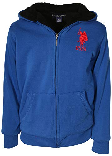U.S. Polo Assn. Boys Sherpa Lined Hoodie Sweatshirt, Cobalt Blue with Logo, Size 10/12'