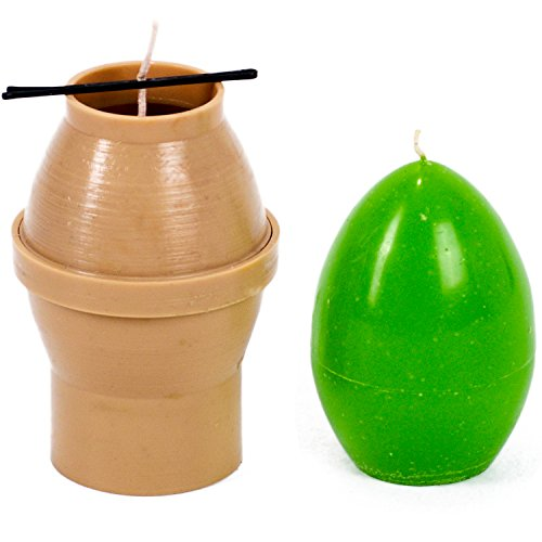 Candle mold in the form of eggs - height: 3.5 in, width: 2.3 in - 30 ft. of wick included as a gift - Plastic candle molds for making candles ()
