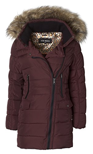 Steve Madden Women's Quilted Puffer Jacket Coat with Faux Fur Trimmed Hood