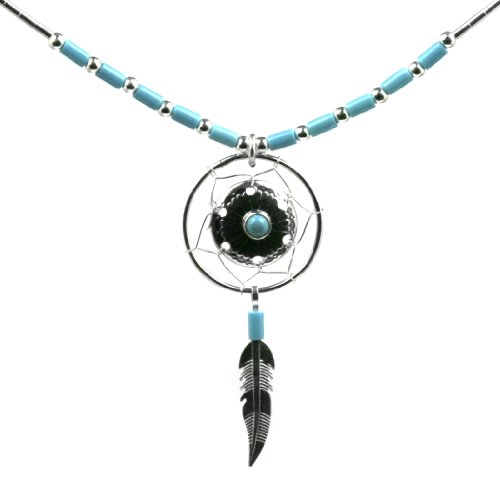 Dream Catcher Sterling Silver Turquoise imitation New Age Pendant Necklace 18