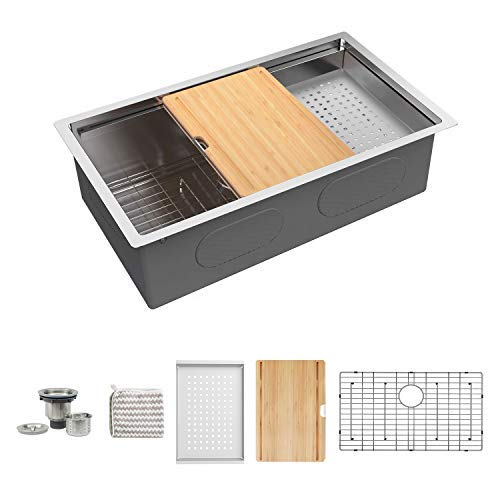 KORVOS Bar Sink, Kitchen Sink Workstation Ledge, Handmade 16 Gauge SUS304 Stainless Steel Undermount Single Bowl Kitchen Sink with Bamboo Cutting Board