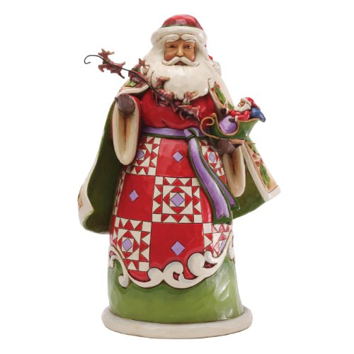(Enesco Jim Shore Heartwood Creek Santa Holding Sleigh Figurine, 10-Inch)