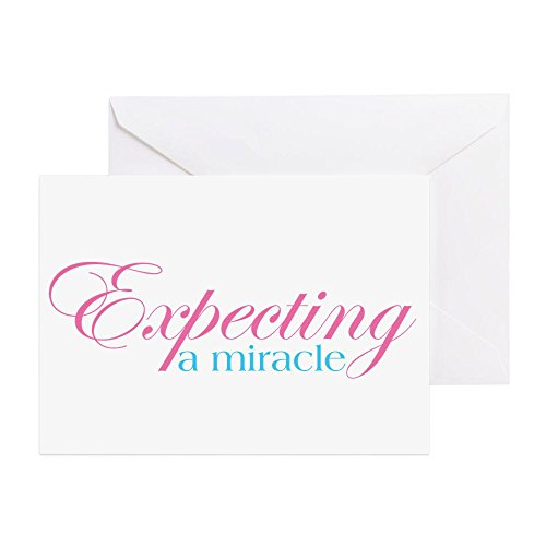 CafePress - With a bun in the oven A Miracle FANCY2 - Greeting Card, Note Card, Birthday Card, Blank Inside Glossy