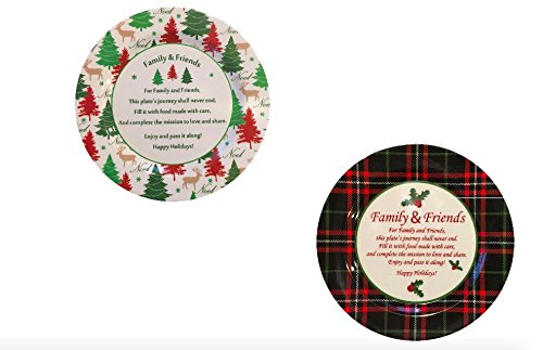 Christmas Set of Two - Melamine Sharing Plates (Reindeer Christmas Tree & Holly Christmas Plaid) Midwood Brands