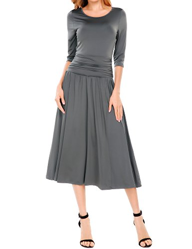 Meaneor Women's Half Sleeve Ruched Waist Long Evening Cocktail Dress Gray L