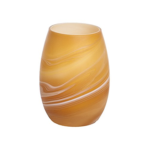 Sia Home Fashion 15 x 20 cm Glass Hurricane Planet Candle Holder, Orange 870020