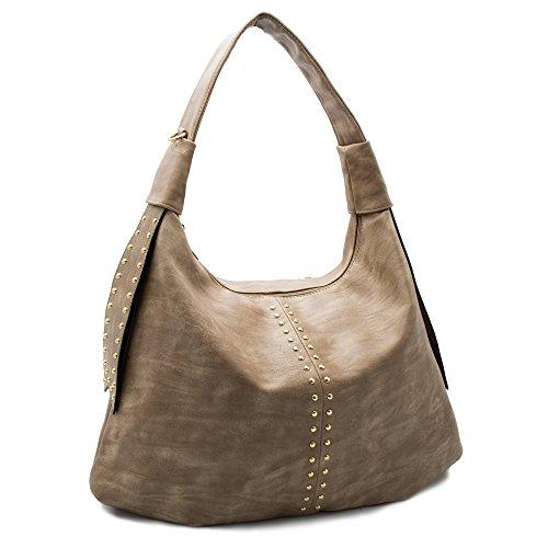 Handbags for women hobo shoulder tote top handle bag motorcycle Rivet Studded large capacity PU Leather