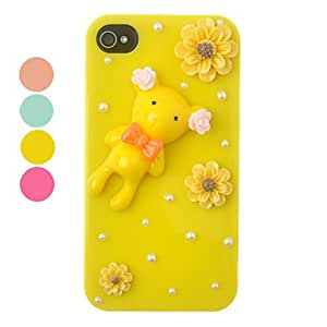 Multicolor DIY Deer and Flower Ornament Plastic Back Case for iPhone 4/4S(Assorted Color) --- COLOR:Yellow