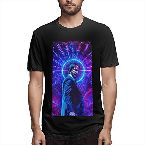 JiaBa Keanu Reeves-John Wick Men's Short Sleeve T-Shirt Black 6XL