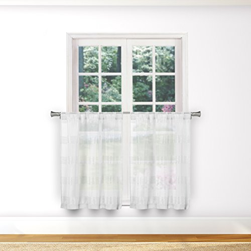 Bathroom and More Collection SHEER Pure White 2 Piece Window Curtain Café/Tier Set Stripe Design (Pair (2) Tiers 24in L Each)