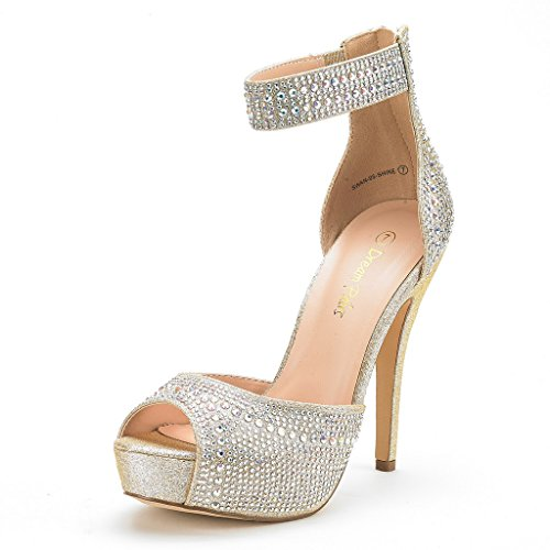 DREAM PAIRS Women's Swan-05 Shine Gold High Heel Plaform Dress Pump Shoes - 11 M US