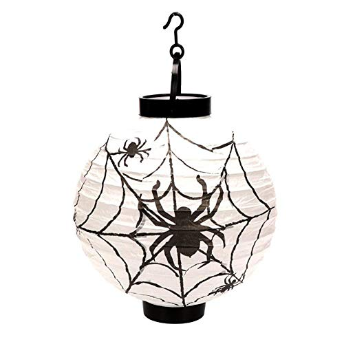SaveStore 4 Colors Foldable LED Paper Pumpkin Lantern Halloween Bat Spider Skull Outdoor Hanging Light Lamp Props Home Party Decorations
