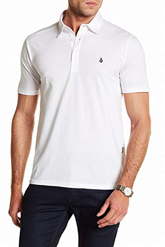 Volcom Men Shirt Logo Three Button Embroidered Polo Rugby White ()