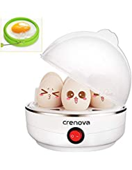 Crenova Egg Cooker Auto Shut Off 7 Capacity for Hard, Medium, Soft Boiled Electric Egg Boiler Steamer Bonus Silicone Egg Ring & Measuring Cup – Perfect Christmas Gift