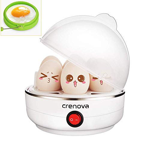 Crenova Egg Cooker Auto Shut Off 7 Capacity for Hard, Medium, Soft Boiled Electric Egg Boiler Steamer Bonus Silicone Egg Ring & Measuring Cup - Perfect Christmas Gift