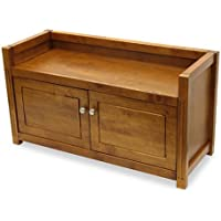 Hall Bench / Storage with -2- Doors Walnut Finish