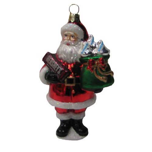 HERSHEY'S Kurt Adler Glass Santa Bar Ornament, 5-Inch