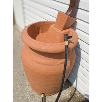 50 Gallon Terra Cotta Granite Urn Style Rain Barrel with Planter