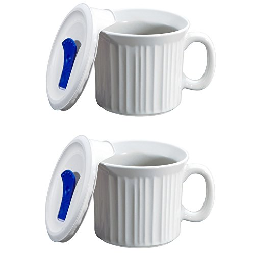 CorningWare Colours Pop-Ins 20-oz Soup Mug with Lid - 2 Pack (French White) (Sale Mugs For Big)