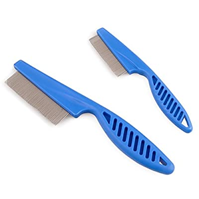 Zelta Pet Grooming Tool Flea Removal Comb Zinc Alloy Tightly Spaced Teeth with Non-slip ABS Plastic Handle (Blue, 2 Pieces) by Zelta