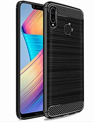 TTVie Funda para Huawei Honor Play, Carcasa Caso Cubierta de Protección de TPU Silicona con Textura de Fibra de Carbono para Huawei Honor Play 6.3
