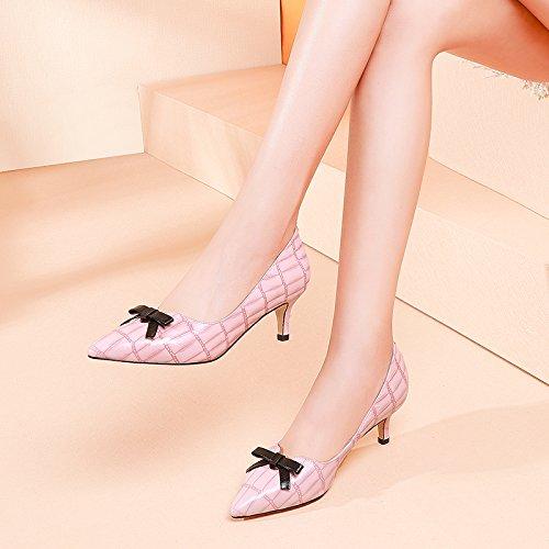 Creux Et Profond Talon De Hautes A Pink Unique Zhudj Fait Chaussures Avec White Peu Papillon Femme Moyen qxORqU1