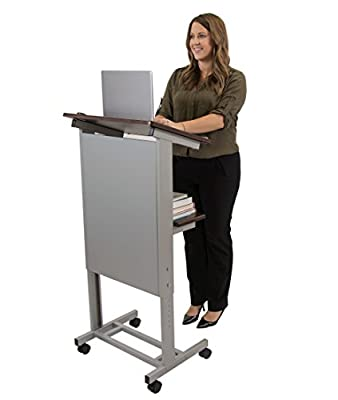 Stand Up Desk Store Mobile Adjustable Height Lectern Podium, Heavy Duty Steel Frame
