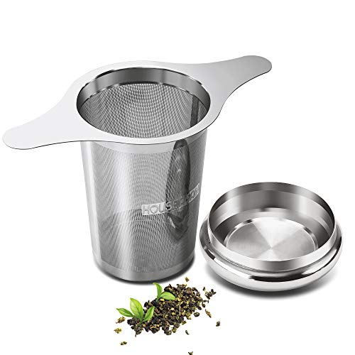 Extra Fine Mesh Tea Infuser by House Again - Fits Standard Cups Mugs Teapots - Perfect Stainless Steel Filter for Brewing Steeping Loose Tea (Extra fine mesh - 2 handles)