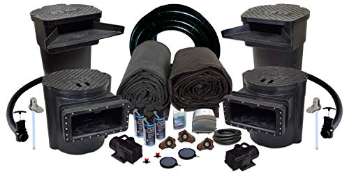 Half Off Ponds US12 - Savio Signature Ultimate Water Garden and Koi Pond Kit with UV Filter, 2.8 CFM Aeration System, and 30 x 50 Foot EPDM Liner 50' Epdm Rubber Liner