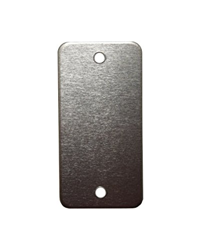 RMP Stamping Blanks, 1 Inch x 2 Inch Rectangle with Rounded Corners and Two Center Edge Holes, Aluminum 0.063 Inch (14 Ga.) - 50 Pack