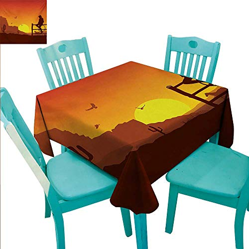 WilliamsDecor Western Flow Spillproof Fabric Tablecloth Silhouette of Cowboy in Wild West Sunset Scene American Culture Image Artsy Print Great for Buffet Table 60