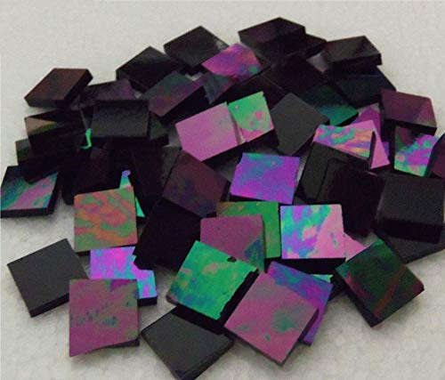 Stained Glass Mosaic Tiles for Art DIY Crafts - 50 ct - 1/2 inch Iridescent Black Opal Wissmach - for Indoor or Outdoor Mosaic Art Projects